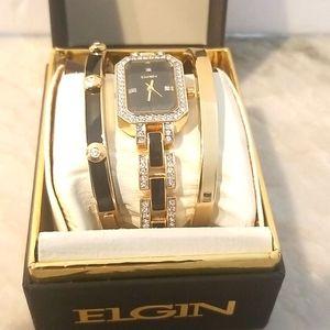 ELGIN Ladies Gorgeous Elegant Watch 3 Pc. Set NIB!